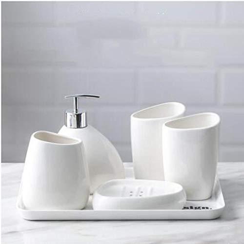 HTBYTXZ keramische imitatieset badkameraccessoires voor het schoonmaken van fles, mondspoeler, zeepbakje, tandenborstelhouder, huishoudartikelen 5pcs With Plate