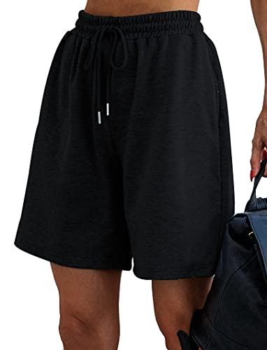 Quenteen Women's 10' Bermuda Shorts Lounge Shorts Long Workout Yoga Sweat Shorts Casual Pajamas Black Small