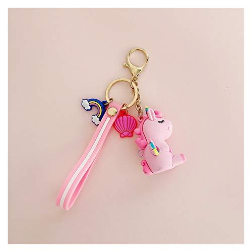 Xx101 Llavera Lindo Potro Unicornio Anime Arco Iris PVC Animal Unicornio Llavero Masculino y Femenino Bolsas niña Llavero Accesorios para Estudiantes pequeños Regalos (Color : PVC Pink)