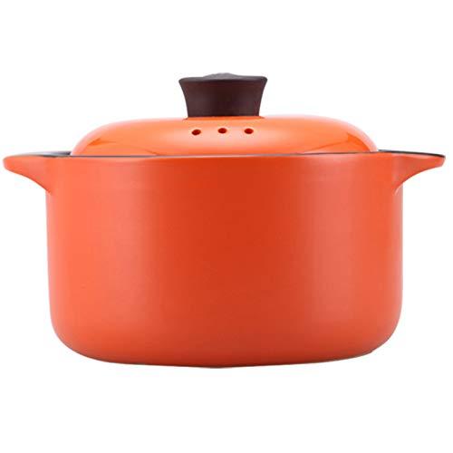 YANGTAO Casserole Haushalt,Großen Kapazitäts-Keramik Casserole Herd Haushalt Mit Deckel Herd Gesundheit Stew Hochtemperatur-Gas Offene Flamme,Orange