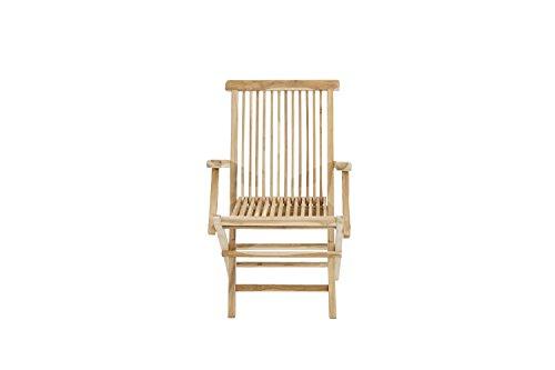 Ploß Outdoor furniture Milford Klappstuhl mit Armlehnen, Eco Teak Natur, 55 x 60 x 90 cm
