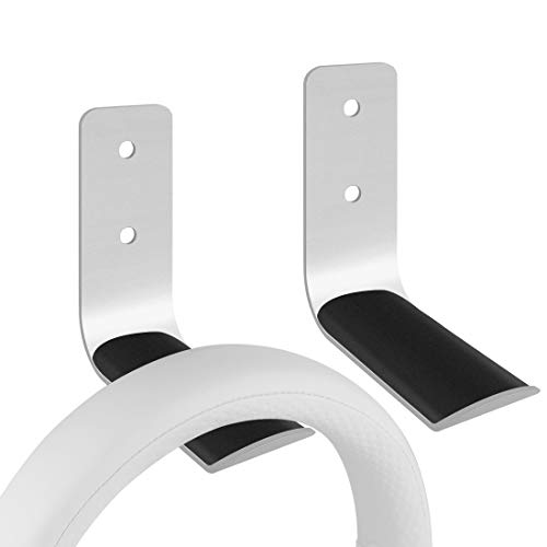 Geekria Headphone Stand/Headset Holder/Headset Hook Under Desk/Gaming Headset Hook Mount/Universal Stand for All Headphones Size (2pcs L Silver)