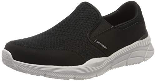 Skechers Equalizer 4.0, Zapatillas Hombre, Negro Negro Malla PU Blanco Ribete BKW, 43 EU