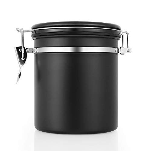 HAOCOO コーヒーキャニスター 1200ml 保存容器 ステンレス製 密封容器 茶筒 日付表示ダイヤル 防湿保存缶 コーヒー密閉容器 ブラック