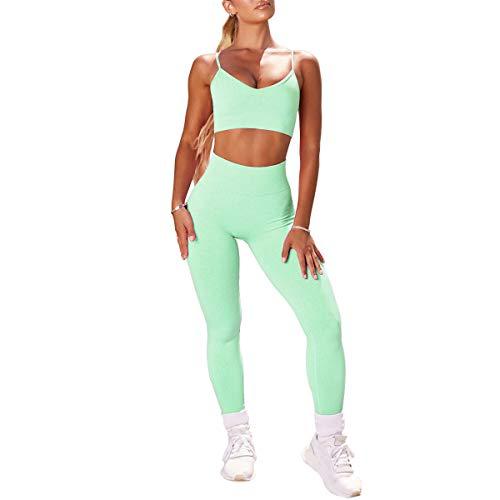 Conjunto de 2 piezas para mujer con leggings+sujetador deportivo Yoga Set de compresión Skinny Medias de Gimnasio Fitness Bbbmee Pantalones de Ejercicio -  Verde -  S