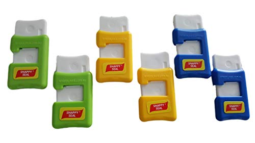 Snappy Seal Magnetic Bag Clips (6 pack) - the World's Greatest Re-Usable Bag Sealer! Innovatively designed bag clip that reseals bags tightly and easily keeping food Fresh longer