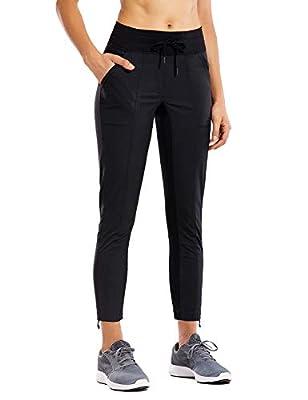 CRZ YOGA Women's Studio Joggers Striped Travel Lounge Pants Drawstring Leg 7/8 Workout Casual Track Pants with Pockets Black Medium