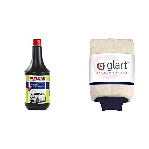 ALCLEAR 721AS Premium Autoshampoo Konzentrat, 1.000 ml + Glart 44WH Premium Mikrofaser Waschhandschuh für Autopflege Autowäsche