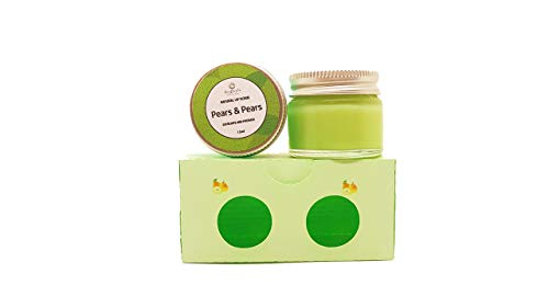 Craftiela Organic Pear Lip Balm And Lip Scrub Set, Food Graded Ingredients, Sweet Almond Oil, Organic Coconut Oil, Natural Food Colouring, Organic Beeswax Lip Balm