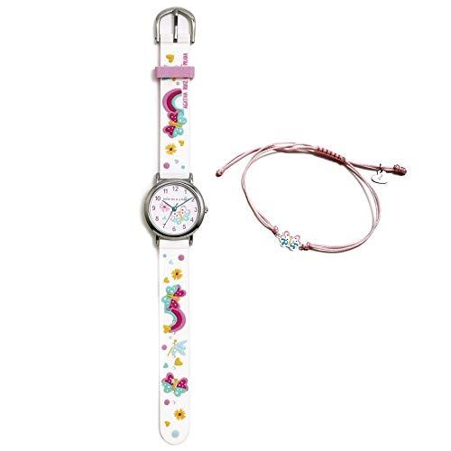 Conjunto Agatha Ruiz de la Prada AGR306 colección Fantasía niña mariposas reloj blanco pulsera plata - Modelo: AGR306