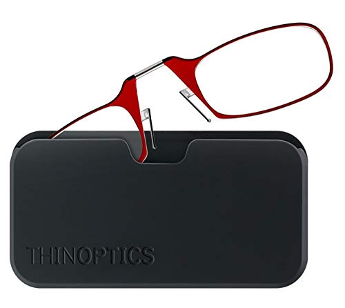 ThinOptics Reading Glasses 1.50 Red Frames With Universal Compact Case -...