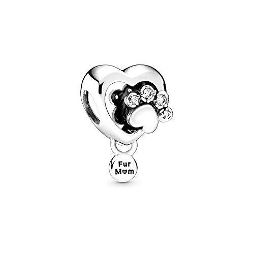 Pandora Funkelndes Hundepfotenabdruck & Herz Charm, Silber, 1,7cm, 798873C01