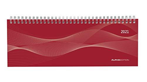 Tisch-Querkalender Profi rot 2021 - Büro-Planer 29,7x10,5 cm - Tisch-Kalender - 1 Woche 2 Seiten - Ringbindung - Alpha Edition