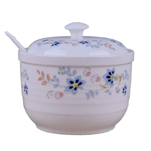 ZLDGYG Keramik Einzelgewürzglas Salzstreuer Küche liefert Gewürzbox, Gewürzglas mit Deckel Löffel