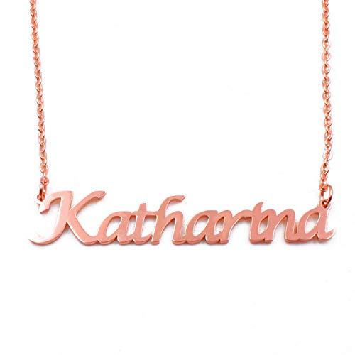 Kigu Katharina - Collar con nombre personalizable y cadena ajustable, chapado en oro rosa de 18 quilates, joyería personalizada para mujer, incluye embalaje de regalo