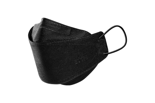 [PACK OF 10] BOTN Korean Black Adjustable Strap KF94 Certified Comfortable Safety Face Mask made for Adult, Made in KOREA 10PCS individually packaged -Black