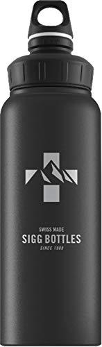 SIGG WMB Mountain Black Touch Trinkflasche (1 L), schadstofffreie und auslaufsichere Trinkflasche, federleichte Trinkflasche aus Aluminium