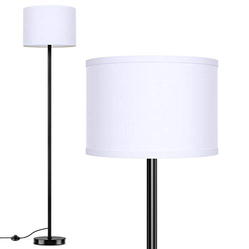 LED Floor Lamp Simple Design, Modern Standing Lamp with Shade,Tall Lamp for Living Room Bedroom Office Study Room, Black Pole Lights with Foot Switch, White Stand Up Lamp Fabric, E26 Base