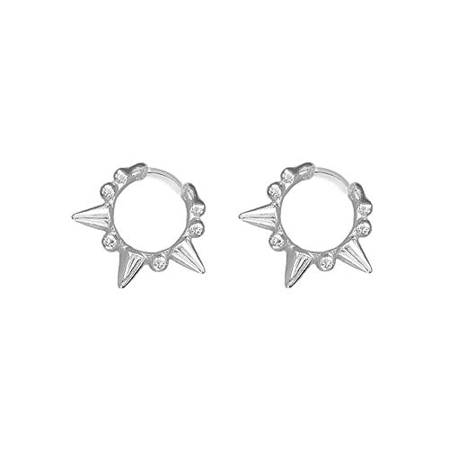 Punk Ball Bead Spikes Stud Small Hoop Earrings for Women Teen Girls 925 Sterling Silver Mini Dot Charms Huggie Hoops Cuff Cartilage Stud Tragus Helix Wrap Earrings Rock Fashion Jewelry (Silver)