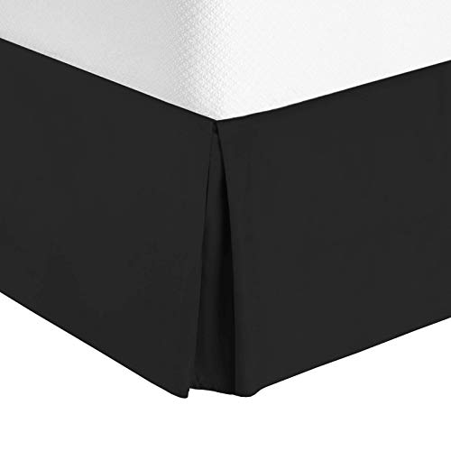 Nestl Bedding Bed Skirt - Soft Double Brushed Premium Microfiber Dust Ruffle - Luxury Pleated Dust Ruffle, Hotel Quality Sleek Modern Bed Skirt, Easy Fit with 14 in Tailored Drop, Full, Black