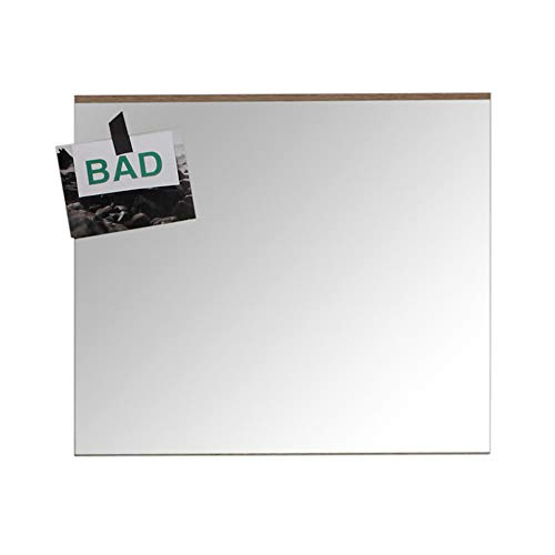 trendteam smart living Badezimmer Wandspiegel Spiegel  Set One, 60 x 55 x 2 cm, in Absetzung Eiche San Remo hell (Nb.) mit großer Spiegelfläche