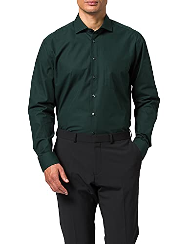 Seidensticker Herren Regular Fit Langarm Popeline Hemd, grün, 46