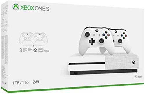 Newest Flagship Microsoft Xbox One S 1TB HDD Bundle with Two (2X) Wireless Controllers - White (Renewed)