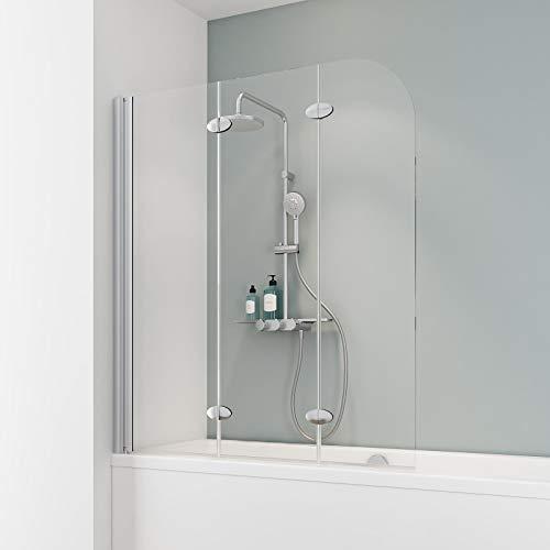 Schulte Duschabtrennung, verschiedene Gläser, faltbar für Badewanne, einfacher Aufbau, 125 x 140 cm, 5 mm Sicherheitsglas Klar hell, alunatur, ExpressPlus, EP3354 01 50