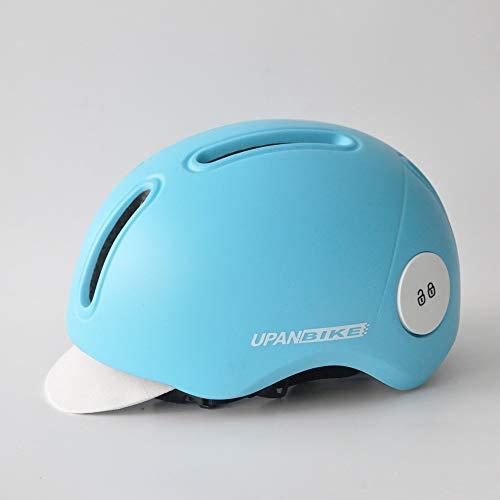 Casco de bicicleta para adultos, ajustable, casco de ciclismo urbano con visera para jóvenes, hombres y mujeres, seguridad para viajeros (azul cielo)