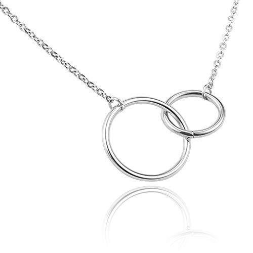 2 in elkaar grijpende Infinity cirkels 14k goud vergulde beste vriend kettingen, vriendschap cadeaus voor vrouwen, meisjes, BFF ketting, beste vriend ketting