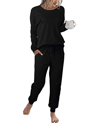 LOGENE Women's Tie Dye Print Pajamas Set Long Sleeve Tops with Pants Lounge Sets Two Piece Loungewear with Pockets (Black, L) 194-heise-L