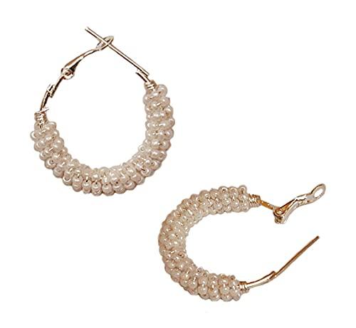 Pahal - Pendientes de aro (plata oxidada, diseño de Jhumka, Jhumki, con perlas blancas)
