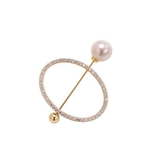 hongbanlemp Pin de Broche de Brillo de Boda, Broche de Perlas de imitación Elegante, suéter Clips de Chal de Doble propósito de una Palabra Broche (Dorado)