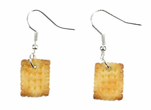 Miniblings Keks Butterkeks Ohrringe Hänger Weihnachten Cookie Plätzchen - Handmade Modeschmuck I Ohrhänger Ohrschmuck versilbert