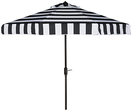 Safavieh PAT8003A Outdoor Collection Elsa Fashion Line Auto Tilt Umbrella, 9', Black/White