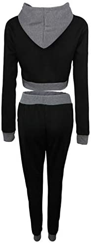 interesting Hooded Short Sweater + Color Matching Trousers Casual Two-piece Suit, Size:M gift