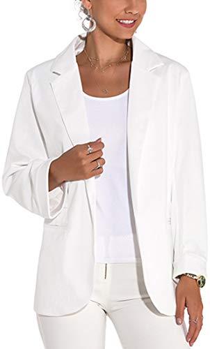 FLYCHEN Mujer Manga Larga Blazer Elegante Oficina Negocios OL Traje De Chaqueta Sólido Slim Fit Abrigo Cardigan Outwear Top, 1 Blanco, L