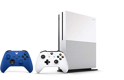 Xbox One S 1TB Bundle - Version 2, 2X Wireless Controllers (1x White + 1x Blue) - 1 Month Xbox Game Pass Trial