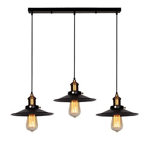 Suspension Luminaire Industrielle 3 Lumière -Ø22 cm Noir, Plafonnier Vintage Lustre Abat-Jour en Métal de Culot E27 Lampe Rétro Décor