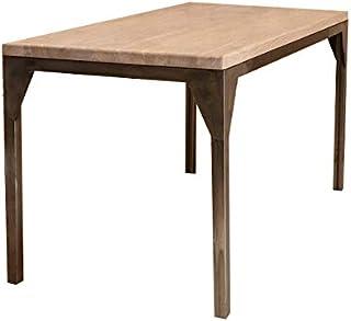 Table de salle à manger industrielle contemporaine avec cadre en acier et cadre en chêne – Acier argenté –
