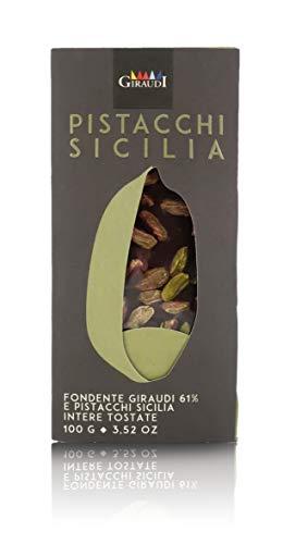 Giraudi Tableta de Chocolate Negro 61% con pistachos de Sicilia, producción Artesanal - 100 gr
