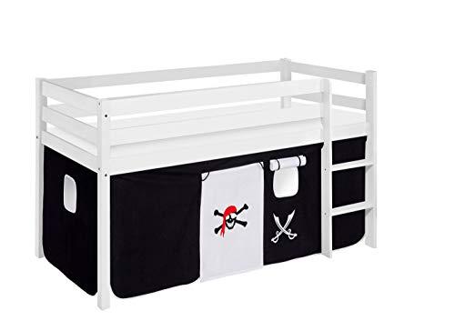 Lilokids Lit de jeu JELLE - 90 x 190 cm - Motif pirate - Noir et blanc - Certifié TÜV & GS - Blanc - Lit mezzanine avec rideau et sommier à lattes