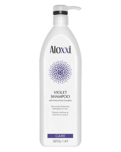 ALOXXI Violet Shampoo - Purple Shampoo for Blonde Hair - Instantly Brightens & Washes Away Brassy Yellow Tones on Blonde, White & Grey Hair - Paraben Free & Sulfate Free, 33.3 Fl Oz
