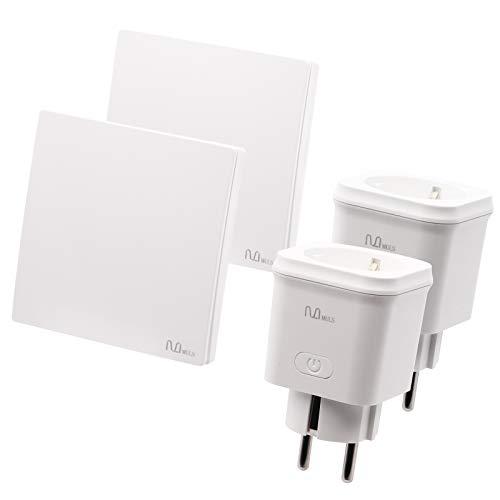 MULS Enchufe inteligente WiFi con interruptor inalámbrico,Funciona con Alexa, Google Home, control de voz y grupo, horario y temporizador, enchufe inteligente de monitoreo de energía(2 pack)