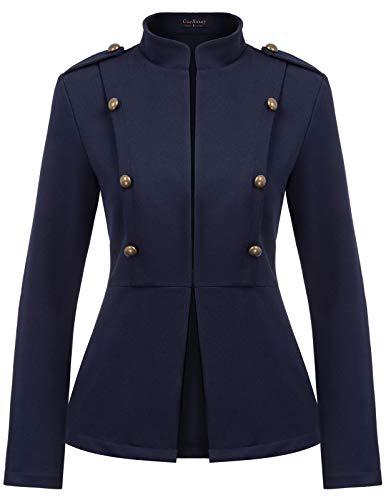 Women Mock Neck Open Front Military Jacket Casual Work Blazer Navy L