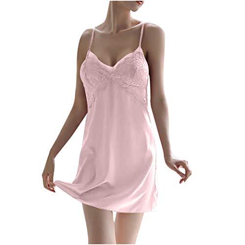Camisón Mujer Sexy AlgodóN Verano Primavera Moda Sexy Ajustado Top Delgado Comodo Elegante EláStico Talla Grande Sexy CamisóN De Encaje Camisola De PoliéSter Pijamas Ropa Interior (L, Pink)