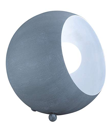 Reality Leuchten R50101078 Billy A++ to E, Tischleuchte, Metall, E14, betonfarbig/Weiß, 14 x 15 x 15 cm