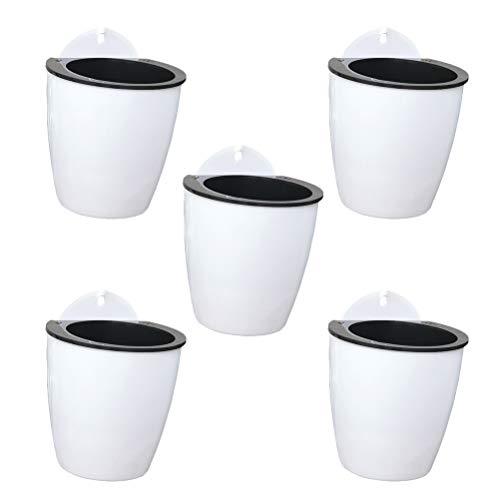 Yardwe 5 STÜCKE Hängende Pflanzgefäße für Indoor Oder Outdoor Pflanzen Decor Kunststoff Sukkulenten Pflanzentopf Selbstbewässerung Pflanzgefäße für Pflanzen hängetöpfe (Weiß)