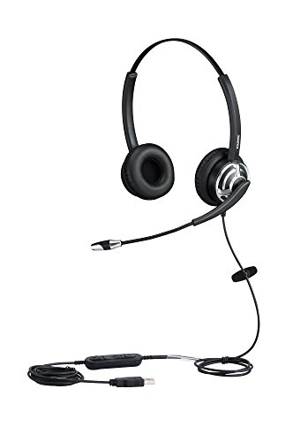 USB Headset Binaural Kopfhörer für Büro Call Center Skype Microsoft Lync mit Noise Cancelling Mikrofon Spracherkennung Mic für Dragon with mic Mute Call Button