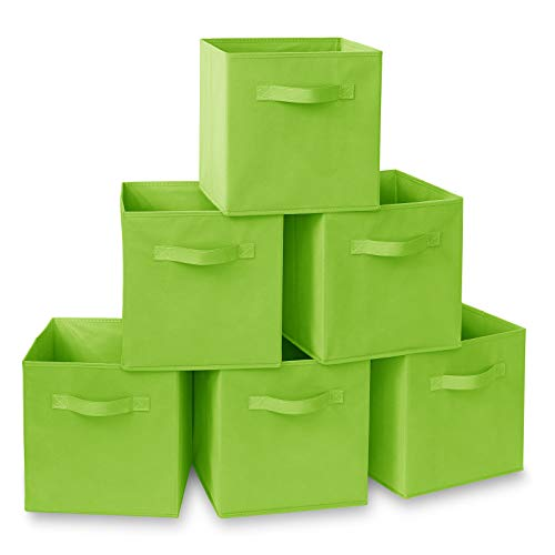 Casafield Set of 6 Collapsible Fabric Cube Storage Bins, Lime Green - 11' Foldable Cloth Baskets for Shelves, Cubby Organizers & More